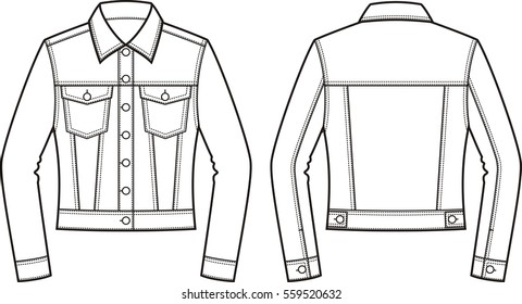 Vector Illustration Mens Jean Jacket Front Stock Vector Royalty