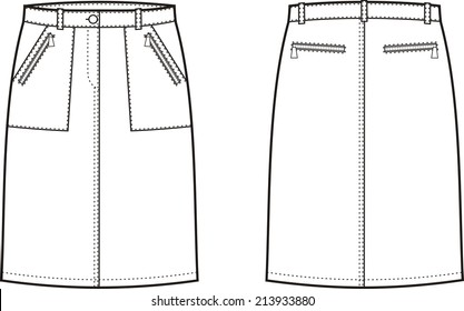 Illustration of women's sport skirt. Front and back views. Raster version