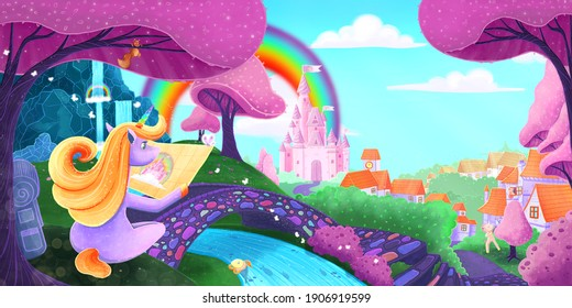 illustration of a wonderful unicorn, magic world, unicorn kingdom, Fairytale background with castle, rainbow. Fabulous flower meadow with unicorn. Wallpaper for girl. Wonderland. Cartoon art
