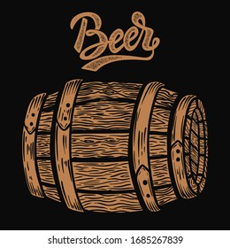 Illustration of wooden barrel of beer in engraving style. Design element for logo, label, sign, poster, t shirt.