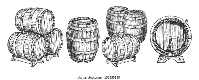 illustration of wooden cask or barrels set. Front, top, three quarters positions view of beer and wine storage tank on stand with tap stacked. Vintage hand drawn style.