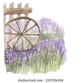 illustration of a wooden fence with a cartwheel, watercolor lavender flowers