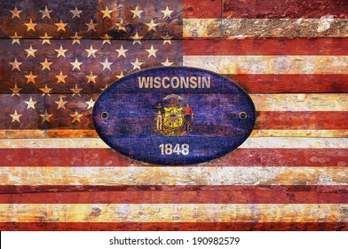 Illustration with a wooden flag of Wisconsin.