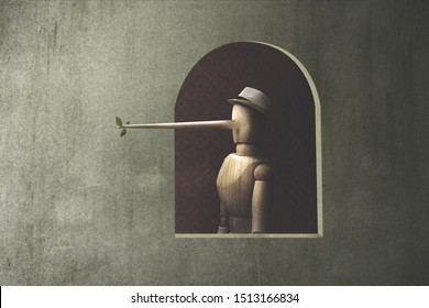 illustration of a wooden marionette with long nose; liar concept
