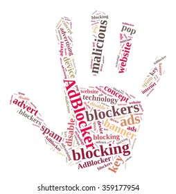 Illustration with word cloud on ad blockers.