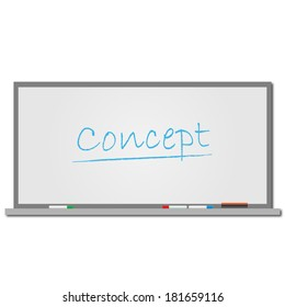 Illustration of the word Concept on a dry erase board. Vector file available.