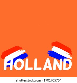 Illustration with the word Holland in the Dutch colors, red, white and blue on an orange background. Room for text.