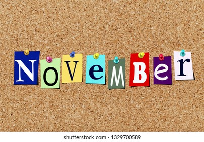 Illustration of word november in cut out magazine letters pinned to a cork noticeboard