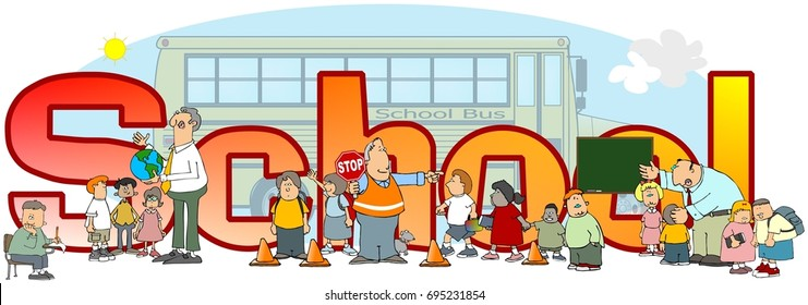 Illustration of the word School with depictions of bus, teachers and students.