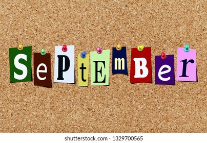 Illustration of word september in cut out magazine letters pinned to a cork noticeboard