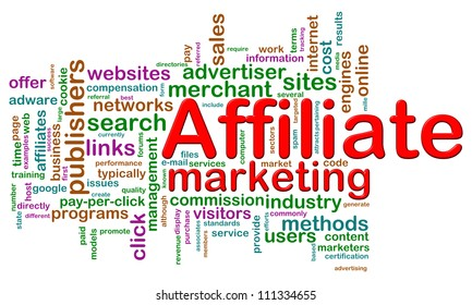 Illustration of word tags of affiliate marketing wordcloud
