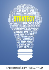 Illustration of word tags wordcloud of bulb shape showing strategy concept