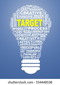 Illustration of word tags wordcloud of bulb shape showing target concept
