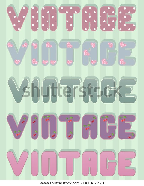 Illustration Word Vintage Done Old Fashioned Stock