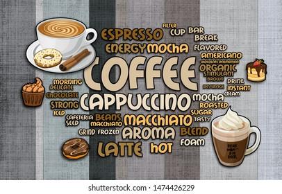 Illustration of WORDCLOUD of coffee design for cafe 3d design wallpaper- ILLUSTRATION