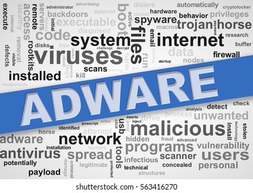 Illustration of wordcloud tags of malware adware concept