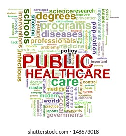 Illustration of wordcloud word tags of concept of public healthcare.