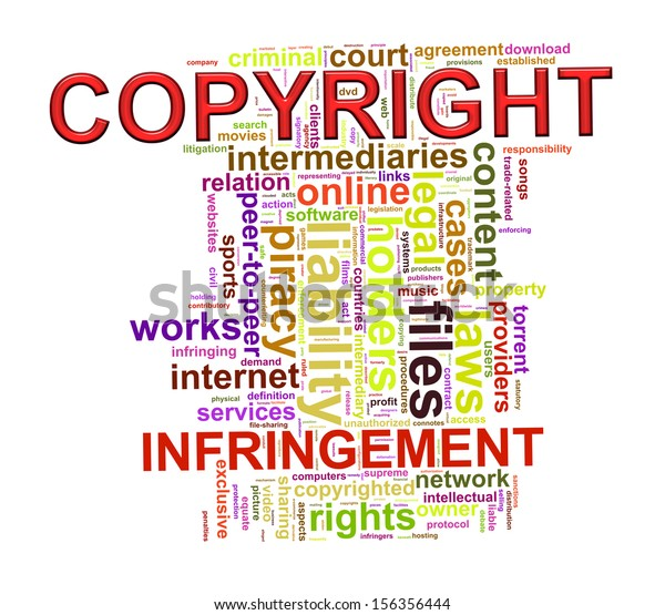 Illustration of wordcloud word tags of copyright