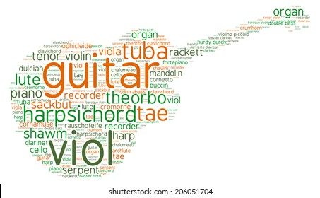 Illustration with words - classical music instruments