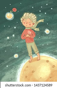 "Illustration for the work ""The Little Prince"" by Antoine de Saint-Exupery."