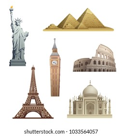 illustration of world landmarks