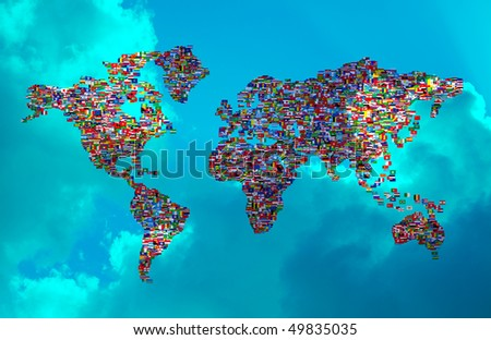 Royalty free stock illustration of illustration world map made world illustration of world map made from world flags on cloudy sky gumiabroncs Gallery