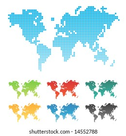 Illustration of a world map made of squares pixels. Seven different color variations. Isolated.
