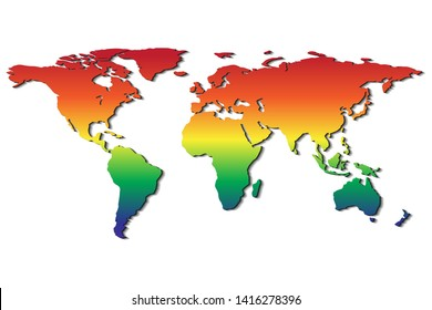 illustration of world map with rainbow color symbol of Lesbian, Gay, Bisexual, Transgender, transsexual or LGBT; difference that coexist peace and love