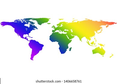 illustration of world map with rainbow gradient symbol of Lesbian, Gay, Bisexual, Transgender, transsexual or LGBT; difference that coexist peace and love