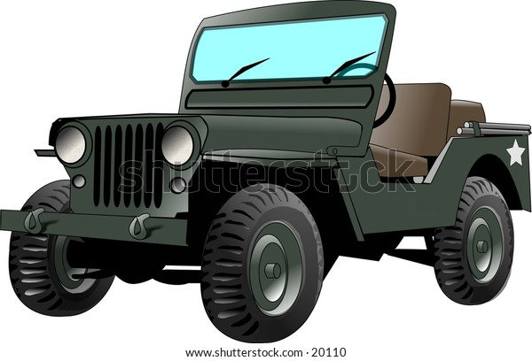 Illustration of a world war 2 era US army jeep.