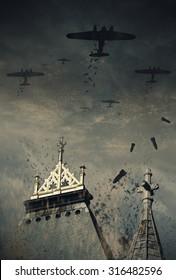 第二次世界大戦中のドイツの爆撃機がイギリスに爆弾を落とした様子を描いたイラスト。(コンピューターアート、油絵)