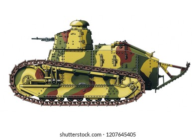 Illustration of a WW1 French Tank on white background