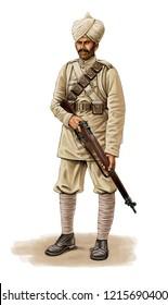 Illustration of a WW1 Indian Infantryman on white background