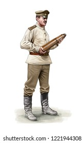 Illustration of a ww1 Russian artilleryman holding an artillery shell
