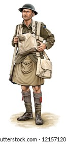 Illustration of a WW1 Scottish soldier on white background