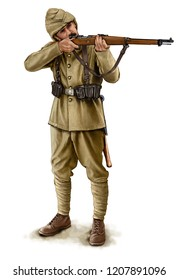 Illustration of a WW1 Turkish soldier isolated on white background