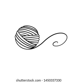 Illustration  of yarn ball and needles. For crocheting and knitting print, icons, logo, creative design. Isolated on white.