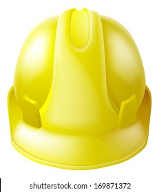 Illustration of a yellow hard hat safety helmet like those worn by construction workers