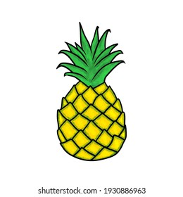Illustration of a yellow pineapple on a white background