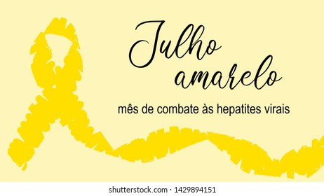 illustration with yellow ribbon symbolizing campaign with text July yellow - month of fighting viral hepatitis in Portuguese