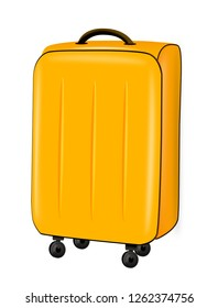 Illustration of yellow suitcase trolley on white background