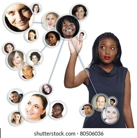 illustration of a young African American businesswoman sorting her social network of friends and clients