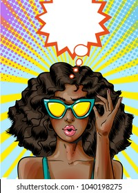 Illustration of young african american woman in yellow sunglasses. Sexy pin-up girl in pop art retro comic style.
