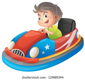 Illustration of a young boy riding a bumper car on a white background