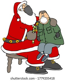 Illustration of a young boy sitting on Santa Claus lap and both of them wearing face masks.
