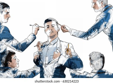 Illustration of young businessman in different poses draw himself using a magic pencil. Mannequin idea concept, create new identity, the best model of you, leader. Creative art isolated on white.