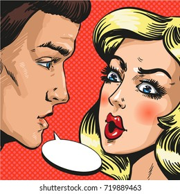Illustration of young couple, husband and wife, lovers talking to each other. Serious talk or love conflict concept, speech bubble in retro pop art comic style.