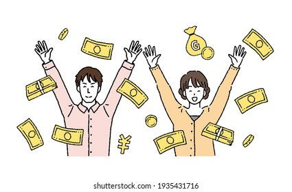 Illustration of a young couple who are happy to get some money.
