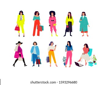 Illustration of a young fashion girls.  Women shoppers and consumers. Ordinary girls with phones. Figures are isolated on a white background. Flat style. Girls posing in fashionable clothes.
