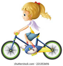 Illustration of a young lady biking on a white background